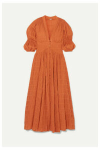 Cult Gaia - Willow Shirred Cotton-blend Maxi Dress - Brown