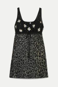 Miu Miu - Embroidered Tulle And Leopard-print Jacquard Mini Dress - Black