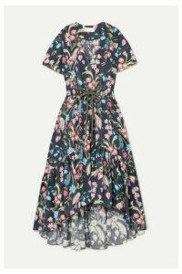 Peter Pilotto - Floral-print Cotton Midi Dress - Navy