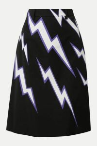 Prada - Printed Cotton-poplin Skirt - Purple
