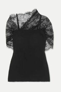 Prada - Cape-effect Lace And Georgette Top - Black