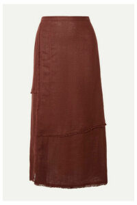 STAUD - Carmela Frayed Linen Midi Skirt - Brown