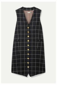 Thom Browne - Grosgrain-trimmed Checked Wool-twill Mini Dress - Navy