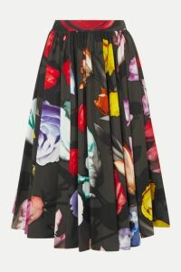 Prada - Pleated Floral-print Cotton Midi Skirt - Black