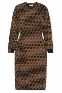 Fendi - Jacquard-knit Midi Dress - Brown