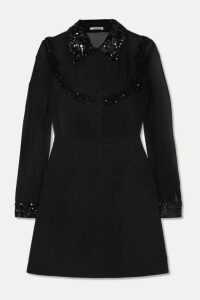 Miu Miu - Sequined Grosgrain-trimmed Silk-chiffon And Wool-blend Mini Dress - Black
