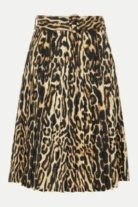 Burberry - Belted Pleated Leopard-print Silk-blend Skirt - Camel