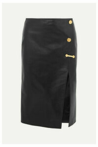 Versace - Embellished Leather Skirt - Black