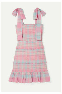 LoveShackFancy - Belle Smocked Tiered Checked Cotton-voile Mini Dress - Pink