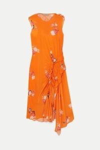 Preen Line - Antoinette Asymmetric Ruffled Floral-print Crepe De Chine Dress - Orange