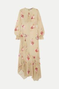 Preen Line - Gabriella Asymmetric Ruffled Floral-print Crepe De Chine Maxi Dress - Neutral