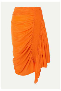 Preen Line - Rosa Asymmetric Shirred Crepe De Chine Skirt - Orange