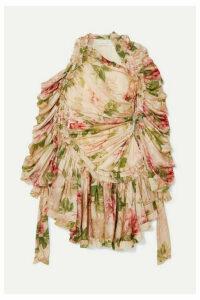 Zimmermann - Espionage Drawn Ruched Asymmetric Floral-print Silk-chiffon Dress - Neutral
