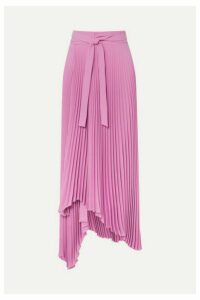 A.W.A.K.E. MODE - Doric Pleated Asymmetric Crepe Wrap Skirt - Pink