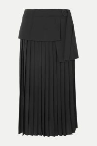 Victoria, Victoria Beckham - Asymmetric Pleated Crepe Midi Skirt - Black