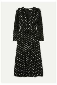 Alessandra Rich - Tie-front Polka-dot Silk Crepe De Chine Midi Dress - Black