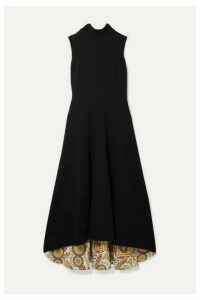 Oscar de la Renta - Ornament Silk-trimmed Wool-blend Midi Dress - Black