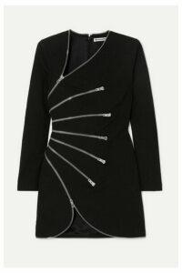 Alexander Wang - Zip-detailed Cotton-blend Crepe Mini Dress - Black