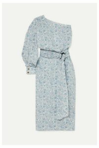 Nackiyé - Patmos One-sleeve Floral-print Cotton-poplin Midi Dress - Blue