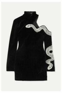 David Koma - Embellished Cutout Stretch-cotton Velvet Mini Dress - Black