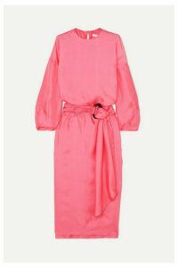 Nackiyé - Topkapi Belted Silk-twill Midi Dress - Pink