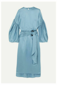 Nackiyé - Nightingale Silk And Wool-blend Satin Midi Dress - Blue
