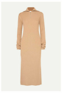 Jil Sander - Zip-detailed Ribbed Wool Turtleneck Dress - Tan