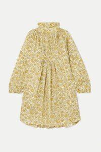 Nackiyé - Frou-frou Gathered Floral-print Cotton-poplin Mini Dress - Gold