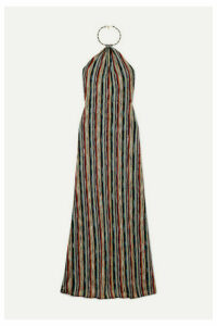 Missoni - Striped Metallic Crochet-knit Halterneck Maxi Dress - Black