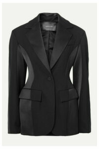 Mugler - Paneled Grain De Poudre Wool And Satin Blazer - Black