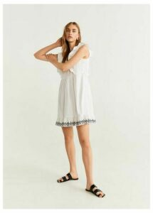 Frills embroidered dress
