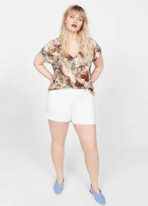 Flowers linen-blend T-shirt