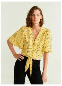 Knot polka-dot blouse