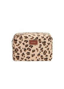 Zipped leopard cosmetic bag