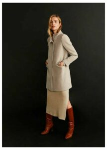 Wool funnel neck coat