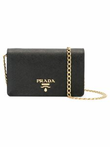Prada Logo plaque clutch - Black