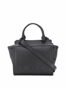 Diesel Leather satchel with embossed logo - Black