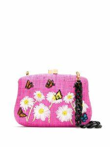 Serpui embroidered raffia clutch - Pink