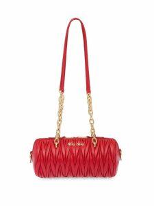Miu Miu matelassé logo plaque mini bag - Red