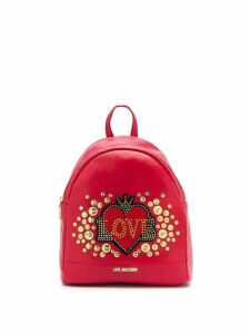 Love Moschino heart logo backpack - Red