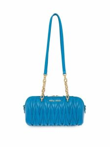 Miu Miu matelassé logo plaque mini bag - Blue