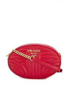 Prada quilted logo cross body bag - Red
