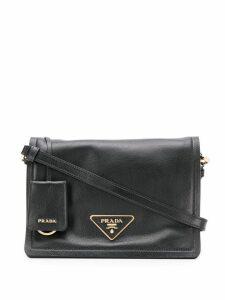 Prada logo plaque shoulder bag - Black