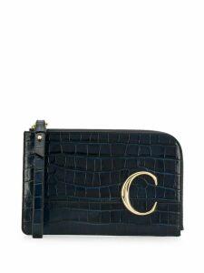 Chloé croc embossed clutch bag - Blue