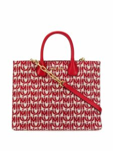 Miu Miu Jacquard and leather tote - Red
