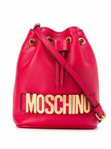 Moschino logo bucket bag - Red