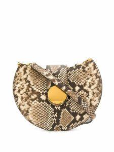 Elleme Tambour python-effect crossbody bag - Neutrals