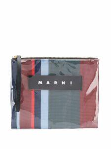 Marni clear logo pouch - Blue