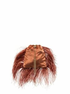 Rosantica Mademoiselle feather-trimmed pouch bag - Brown