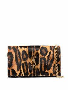 Saint Laurent leopard print shoulder bag - Brown